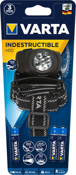 5xLED Indestructible H10 Head Light (Typ17730)  inkl. 3xAAA